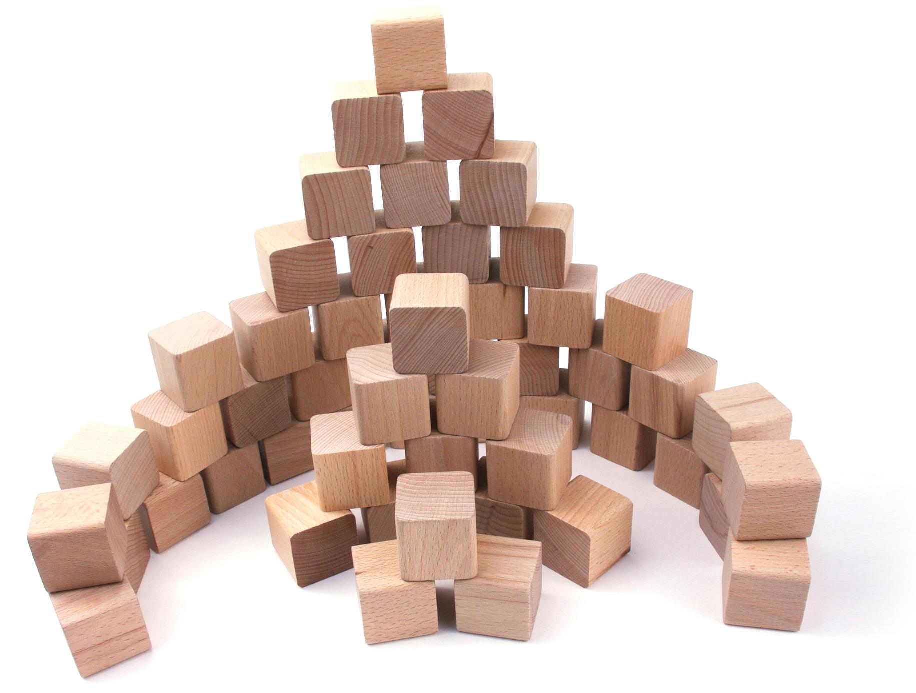 VictorCube Dřevěné kostky pro děti 50 kusů (+ pytlík)