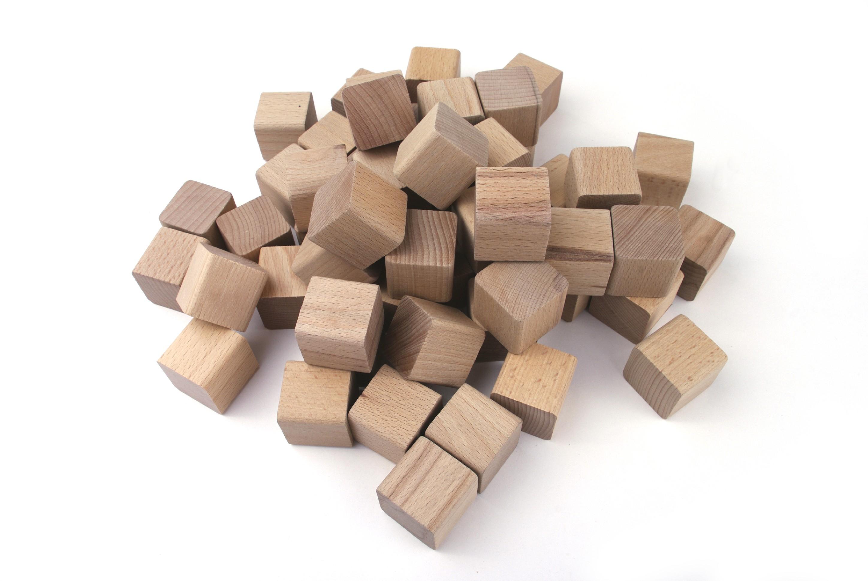 VictorCube Dřevěné kostky pro děti 40 kusů (+ pytlík)