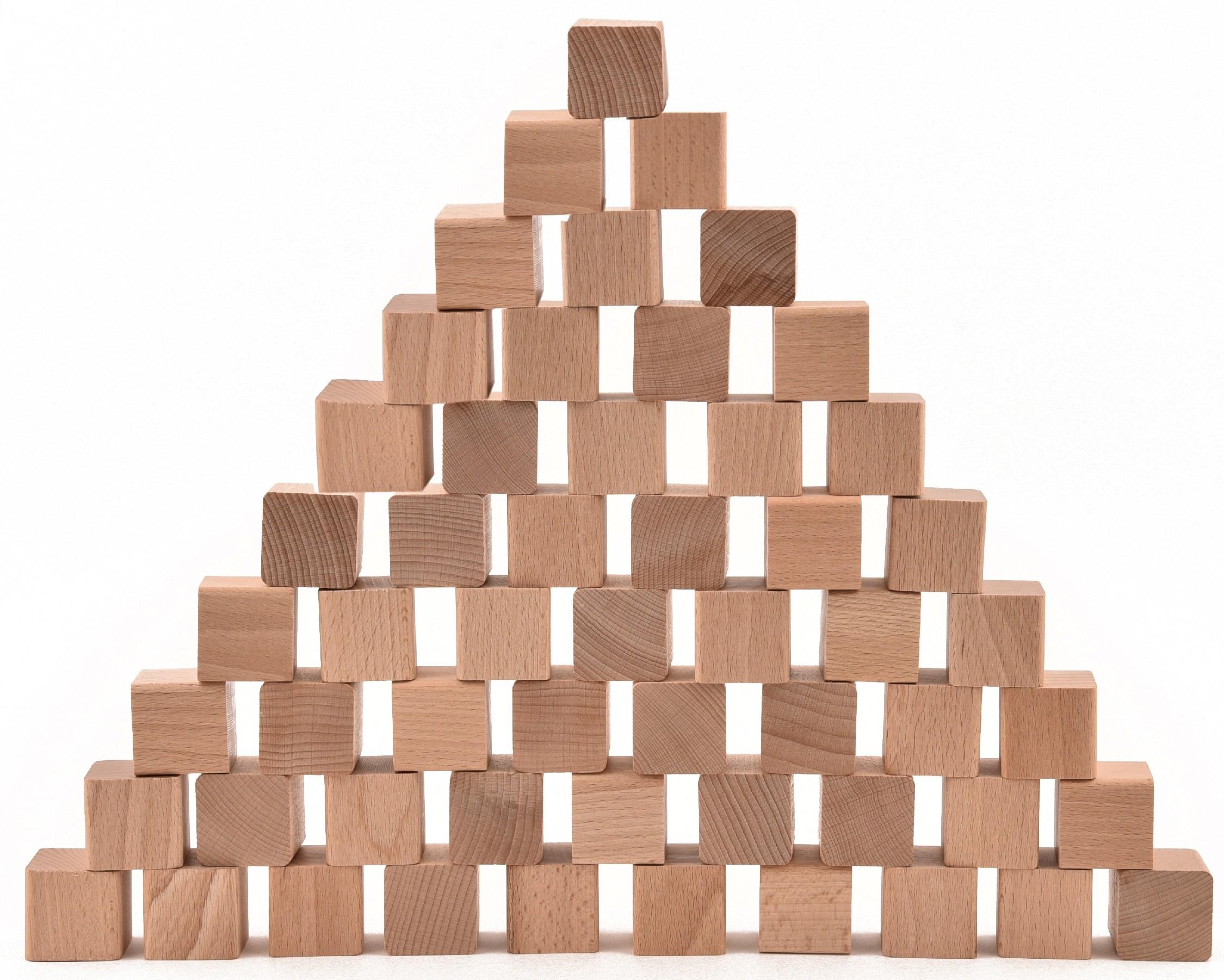 VictorCube Dřevěné kostky pro děti 55 kusů (+ pytlík)