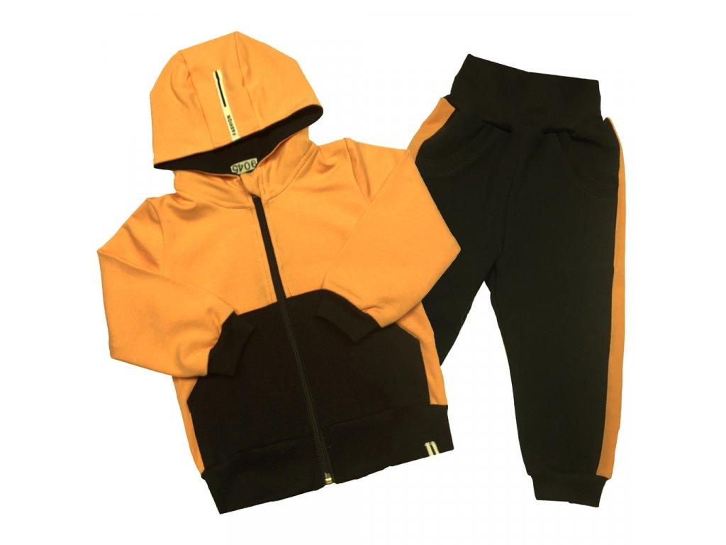 Dívčí/chlapecká tepláková souprava oranžová s kapucí