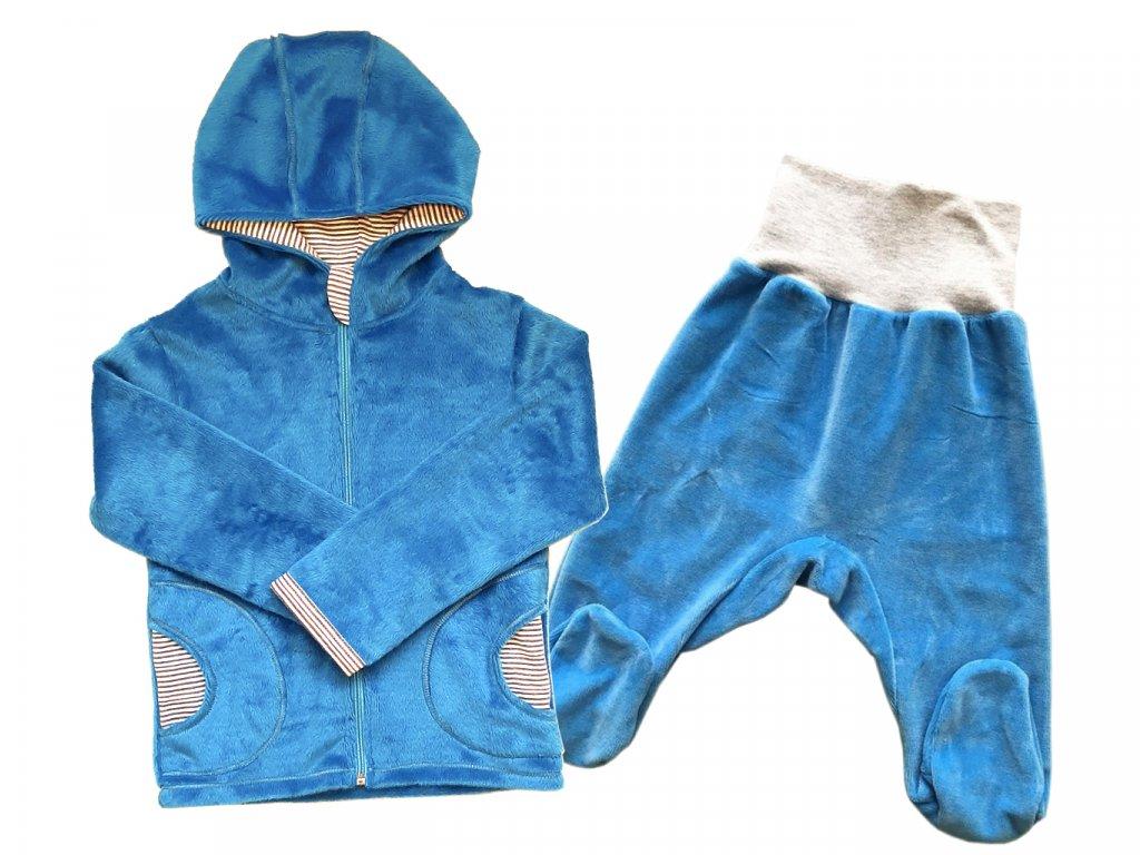 kojenecka souprava velur svetle modra kapuce