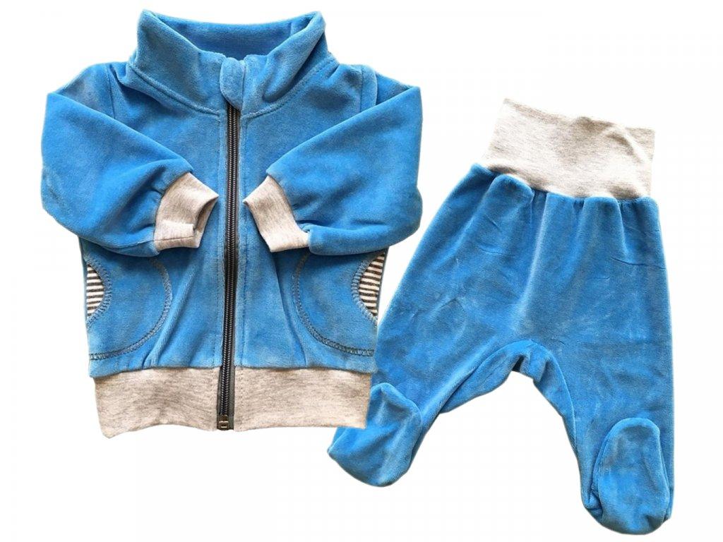 kojenecka souprava velur svetle modra stojacek