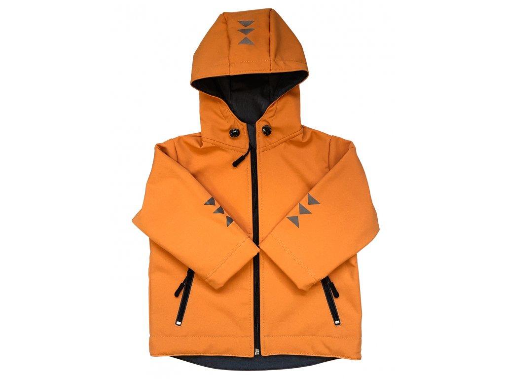 Dětská softshellová bunda hořčicová zimní