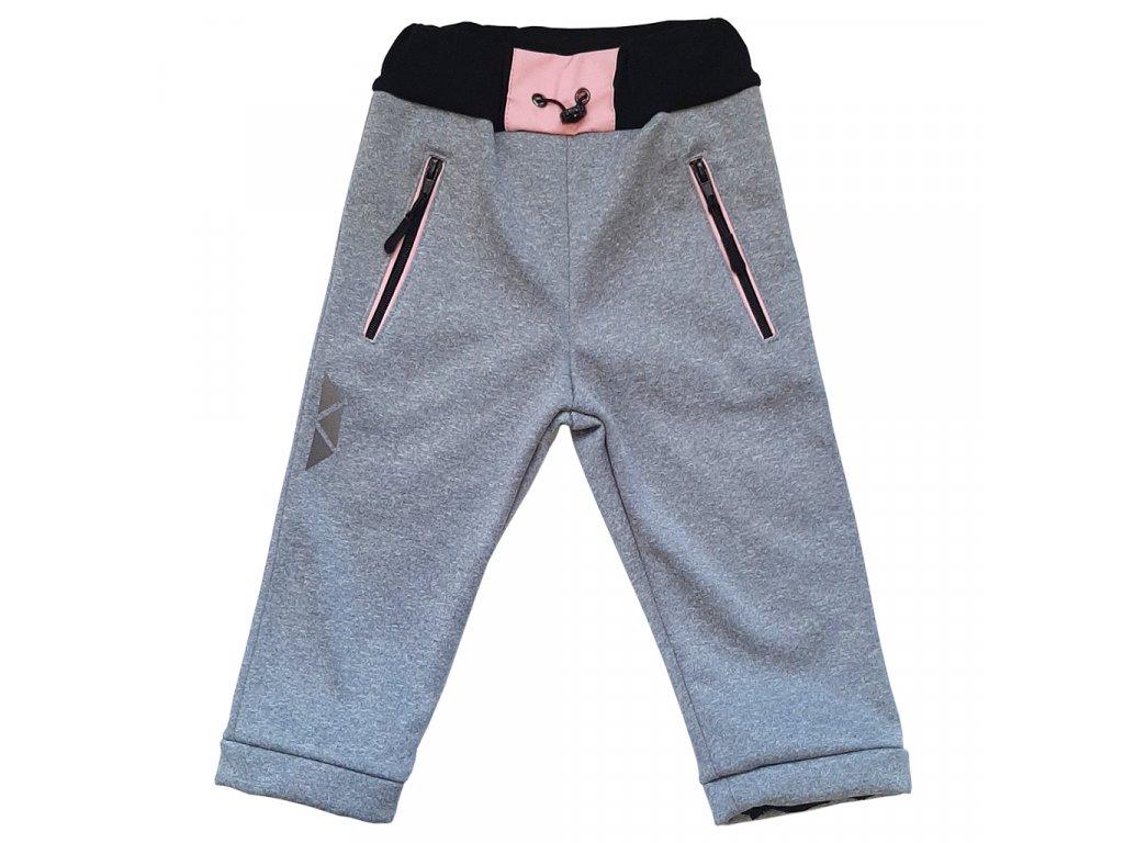 Dívčí softshellové kalhoty kostka melír zimní