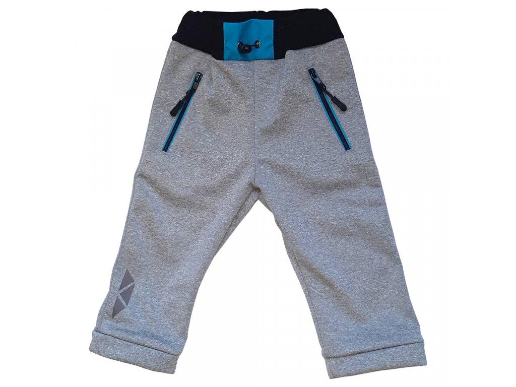 Chlapecké softshellové kalhoty kostka melír zimní