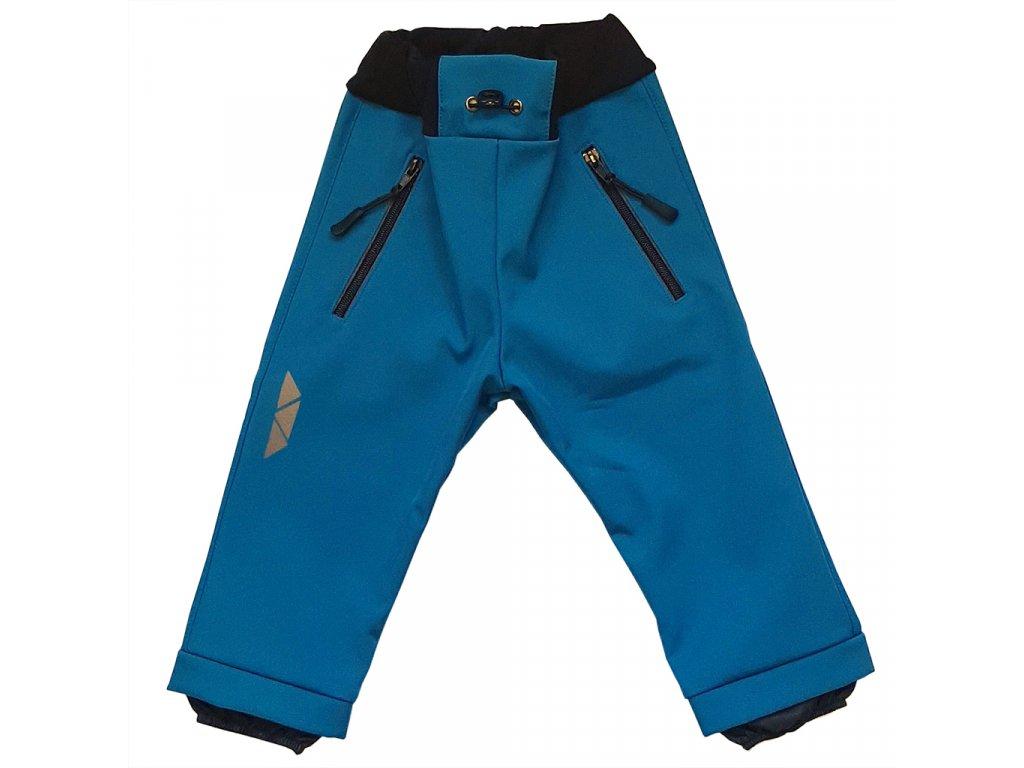 Dětské softshellové kalhoty petrolejové zimní