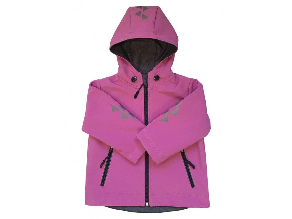 Dětská softshellová bunda pudrová zimní