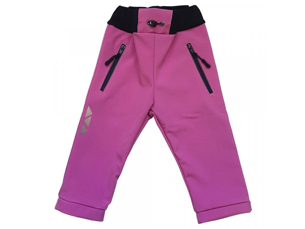 Dětské softshellové kalhoty pudrové zimní