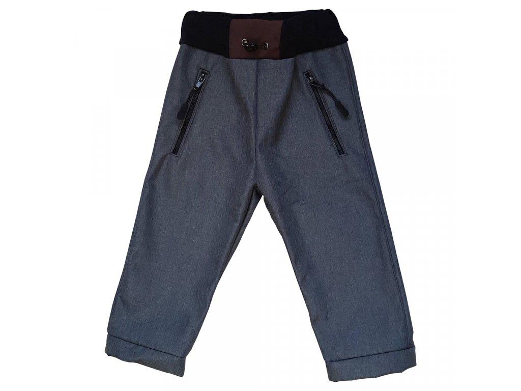 Dětské softshellové kalhoty kostka hnědá zimní