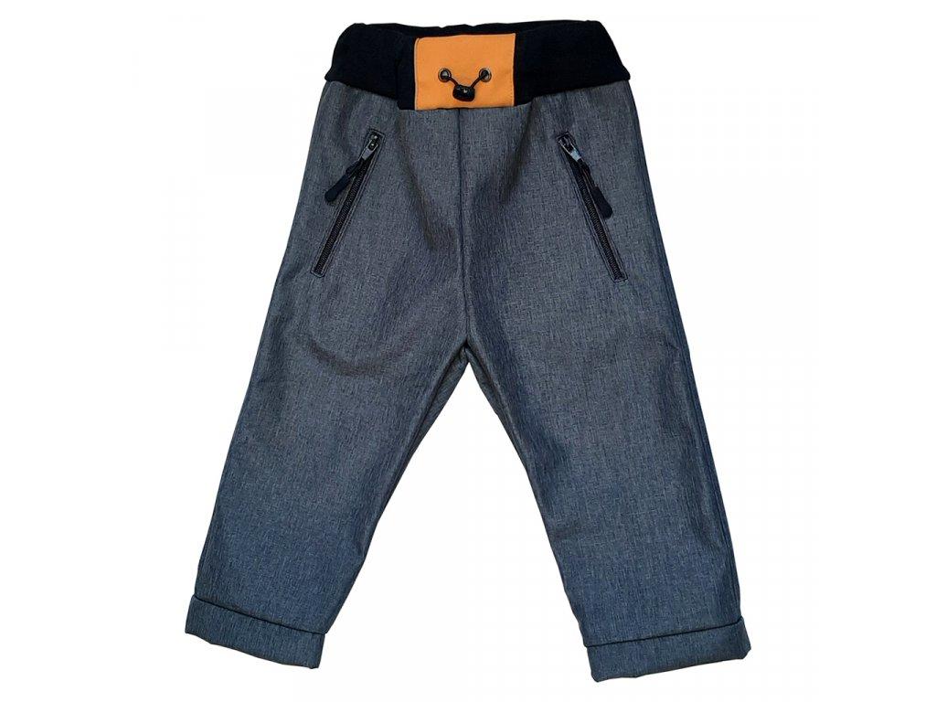 Dětské softshellové kalhoty kostka hořčicová zimní