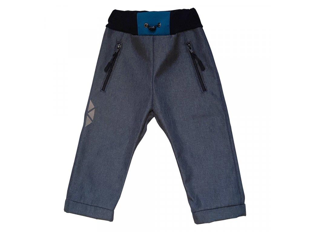 Dětské softshellové kalhoty kostka petrolejová zimní