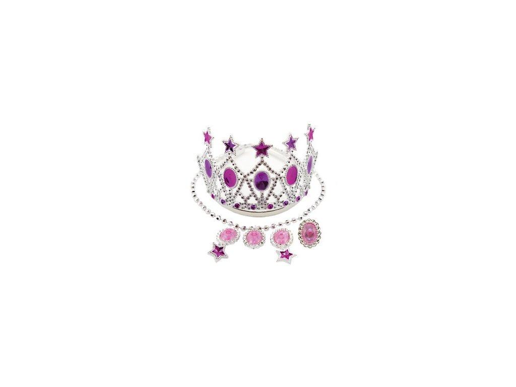 Sada krásy růžová korunka, náušnice, náhrdelník