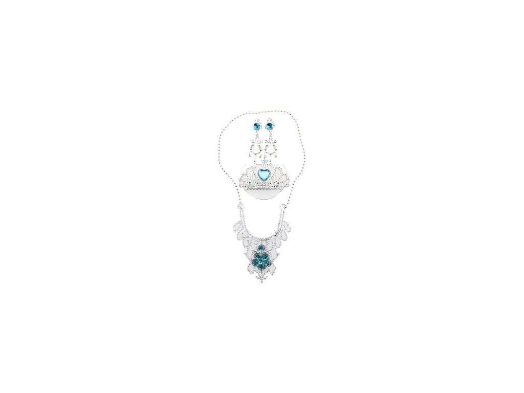 Sada krásy modrá korunka-tiára, náušnice, náhrdelník