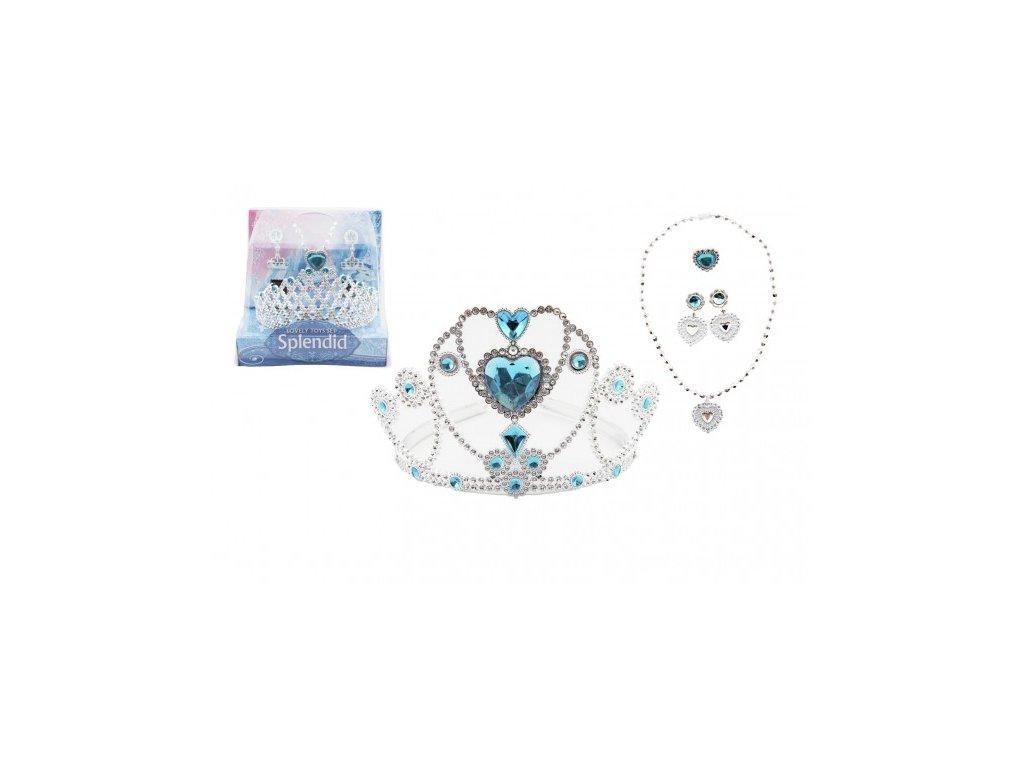 Sada krásy modrá korunka, náušnice, náhrdelník, prsten