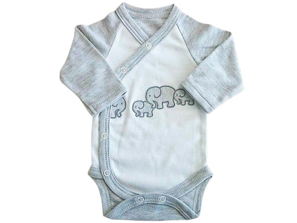 Dětské a kojenecké body slon šedý