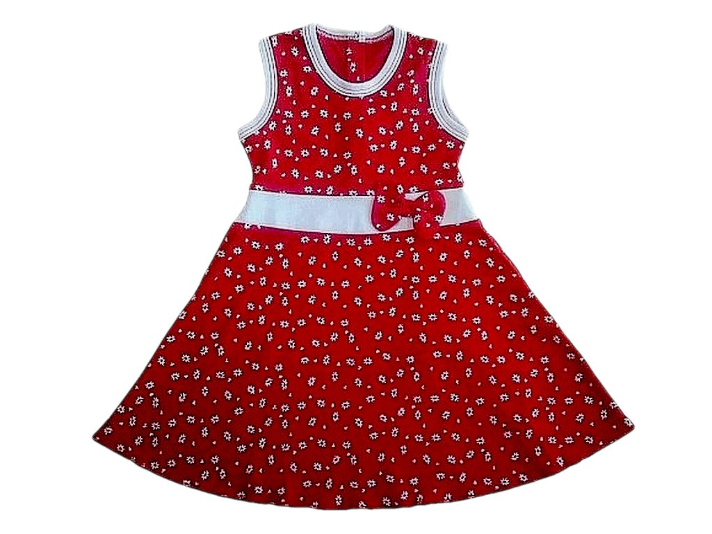 Dívčí bavlněné šaty červené s mašlí