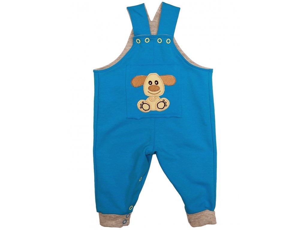 Dětské tyrkysové kalhoty s laclem a žlutým pejskem 2020