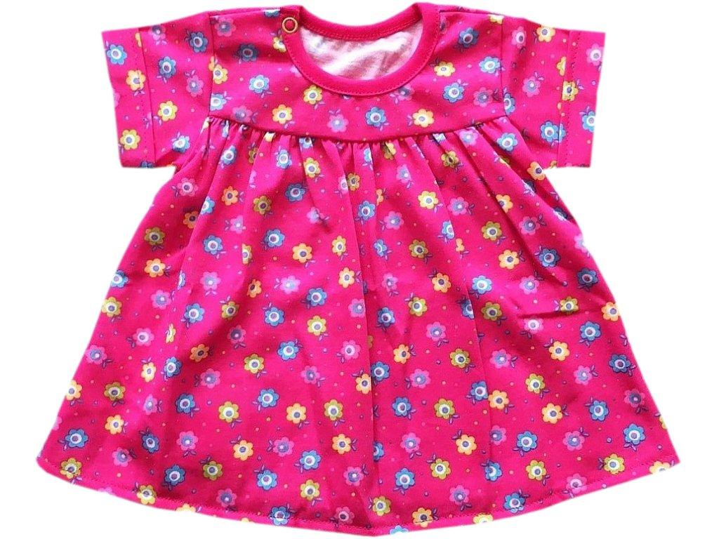 Dívčí bavlněné malinové šaty s kytičkami