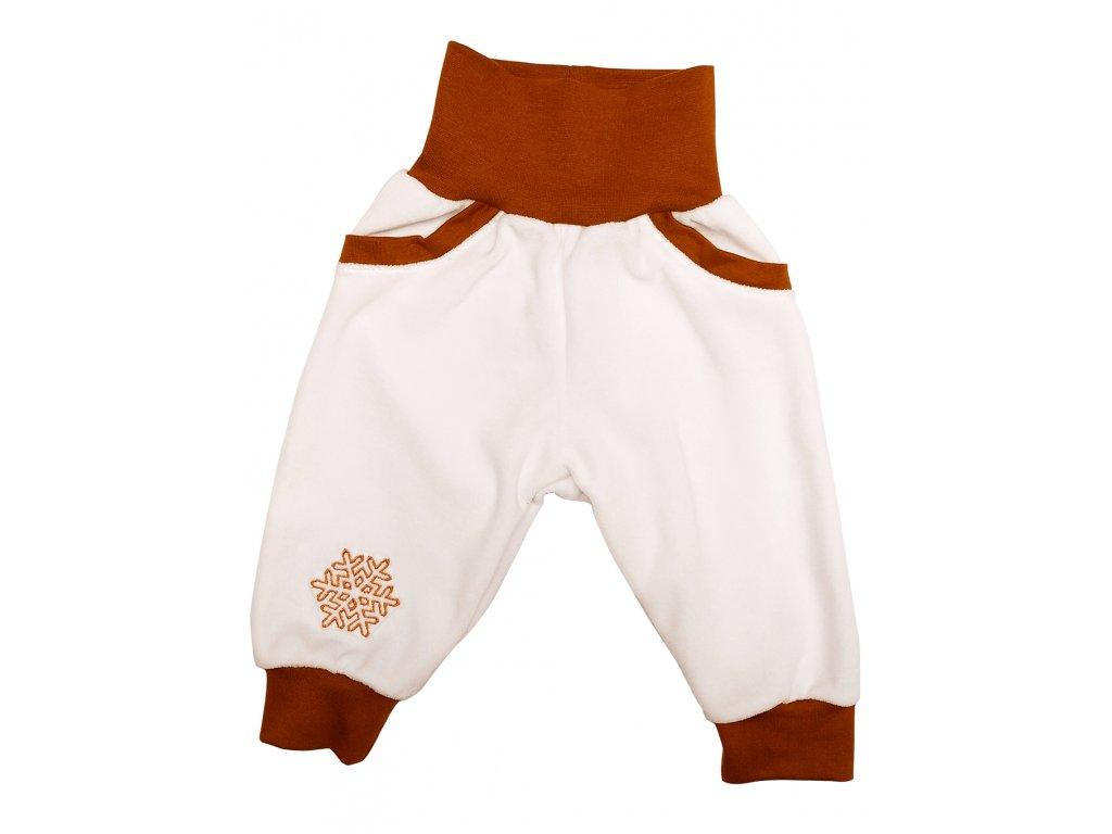 Dětské kalhoty velur bílé s kapsami