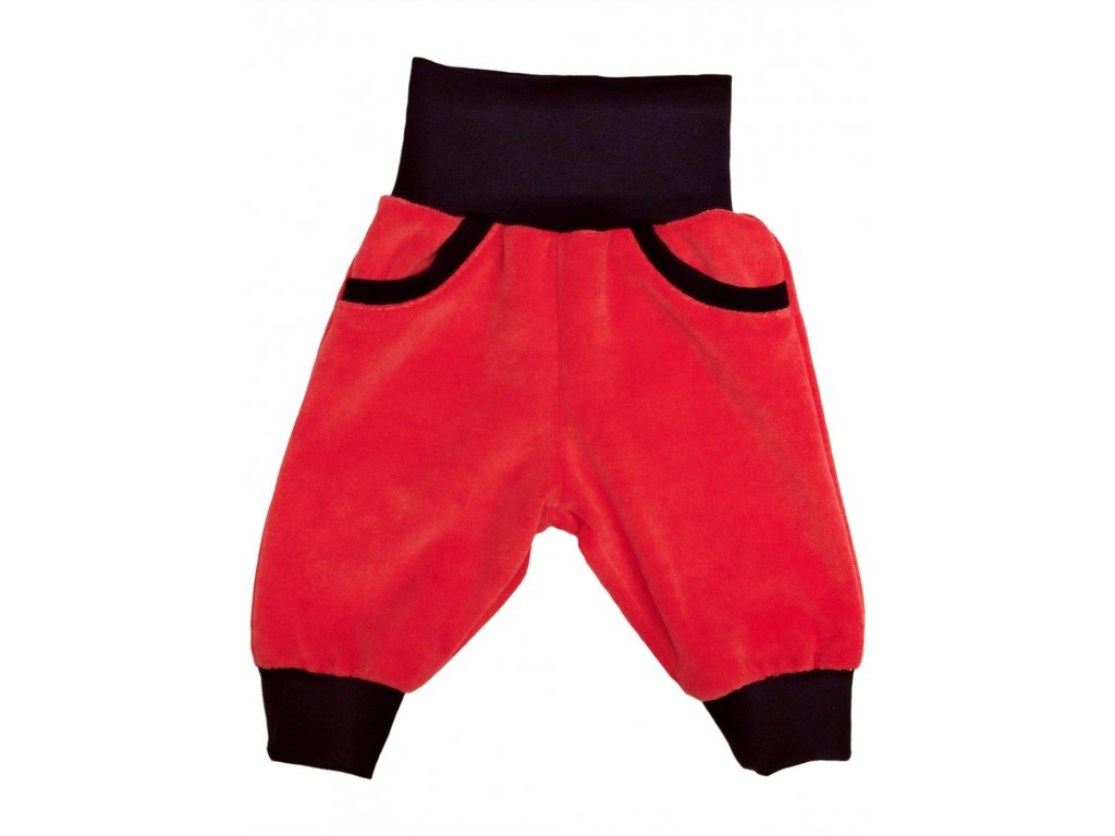 Dětské kalhoty velur losos s kapsami