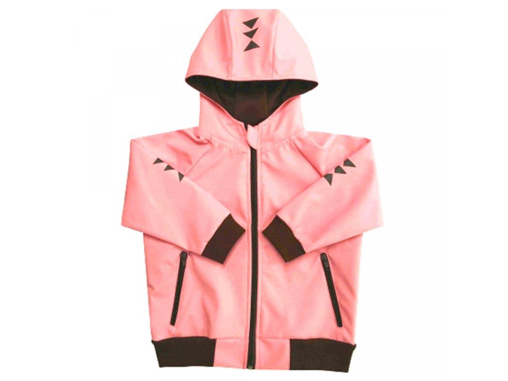 Dívčí softshellová bunda s kapucí letní růžová
