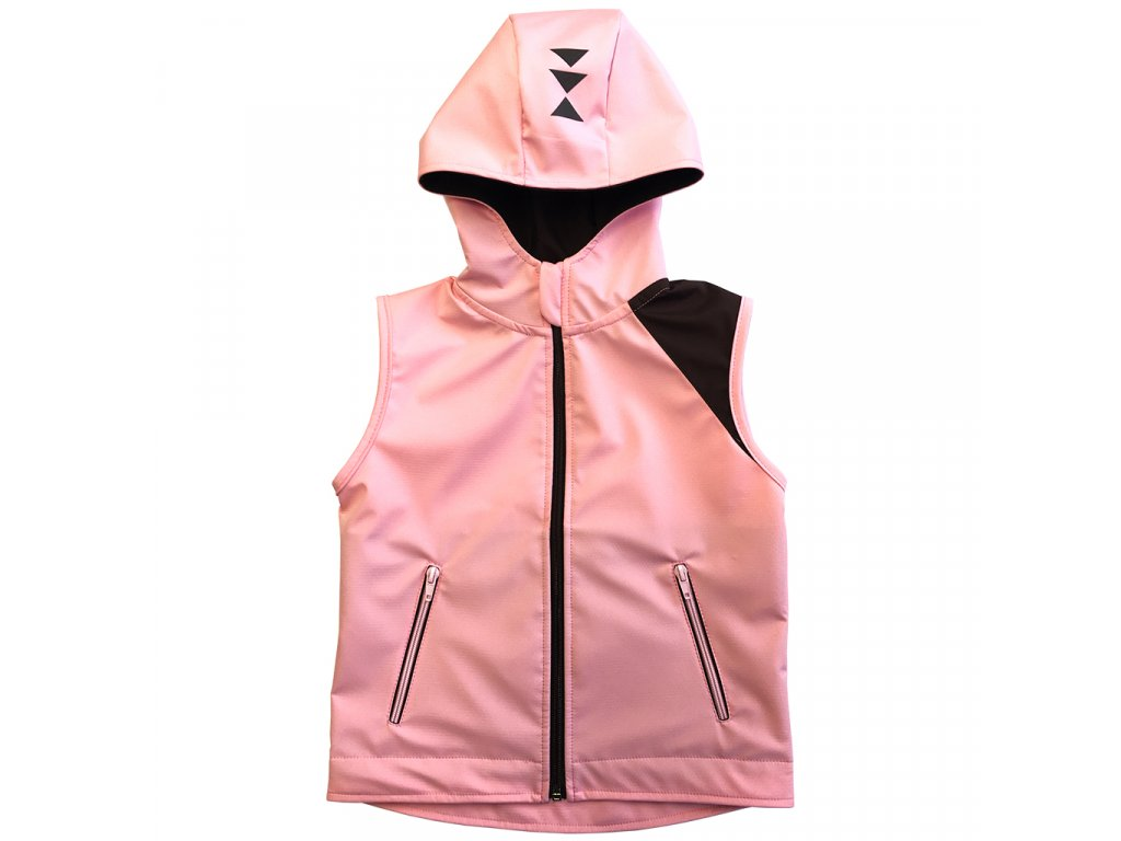 Dívčí softshellová vesta s kapucí letní růžová