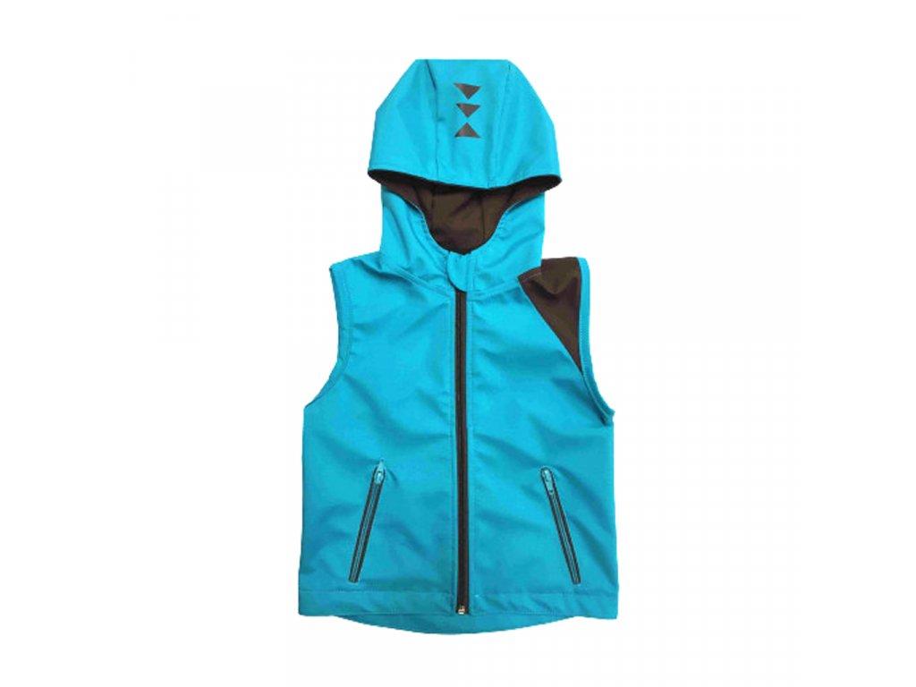 Dětská softshellová vesta s kapucí letní tyrkysová