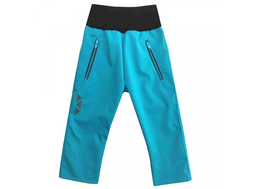Dětské softshellové kalhoty letní tyrkysové