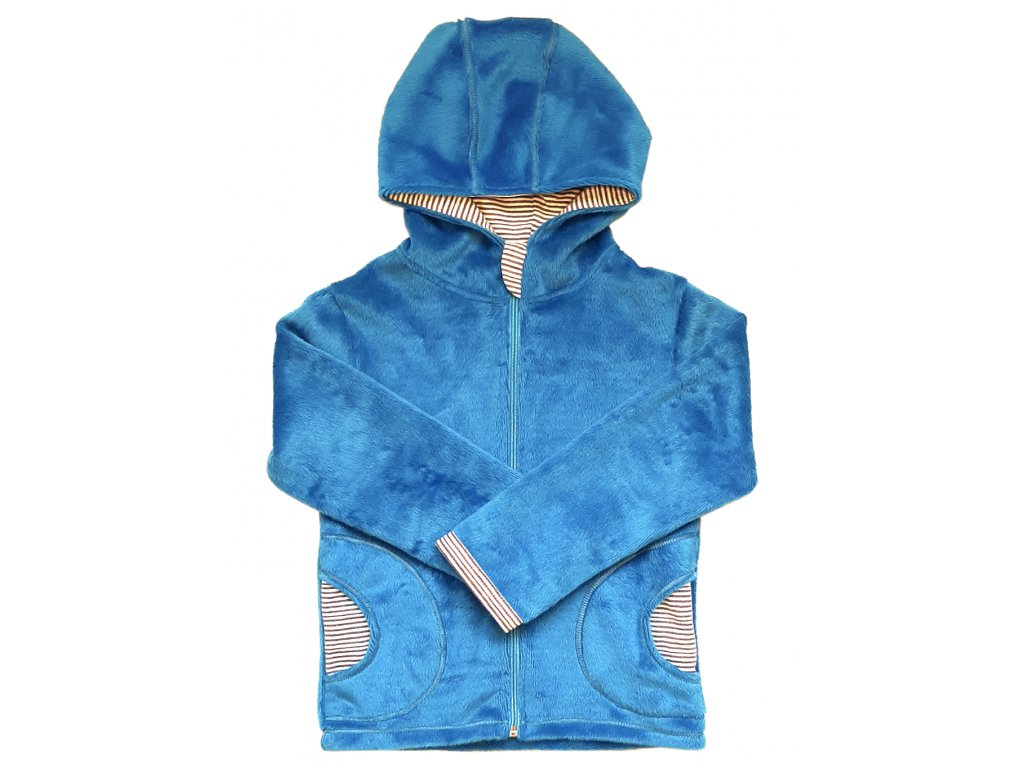 Dětská mikina velur svetle modr s kapuci kod 8022