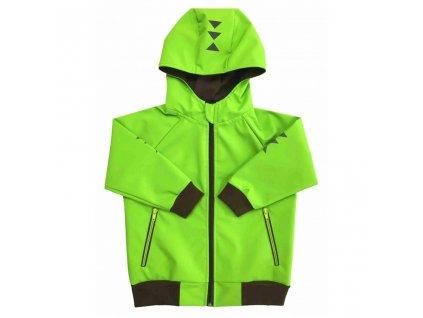 detska softshellova bunda s kapuci letni hnedo zelena