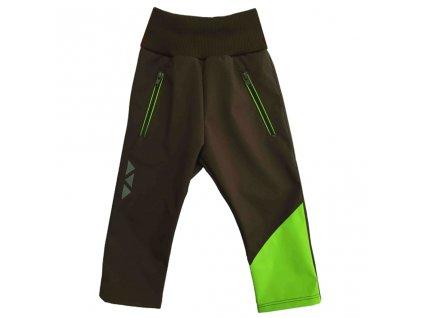 detske softshellove kalhoty letni hnedo zelene