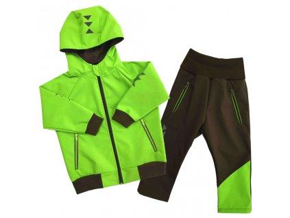 detska softshellova souprava s kapuci letni hnedo zelena