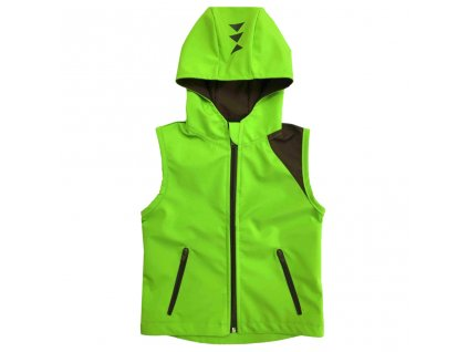 detska softshellova vesta s kapuci letni hnedo zelena