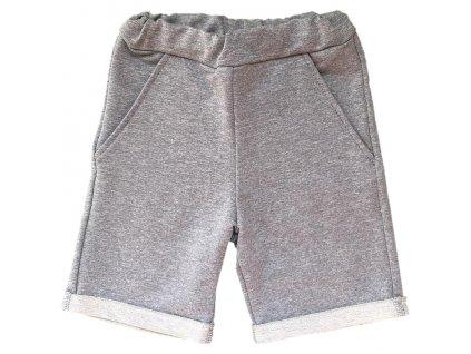 Dětské kraťasy šedostříbrné s kapsami