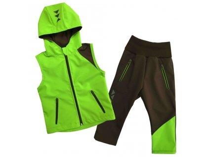 detska softshellova souprava vesta s kapuci letni hnedo zelena