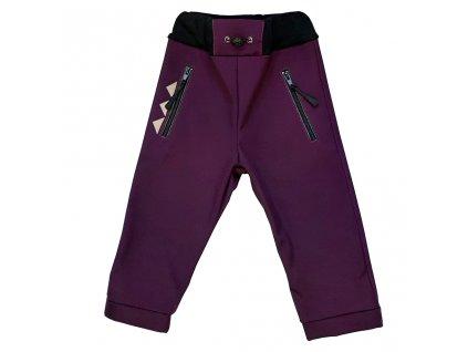 Dětské softshellové kalhoty vínové zimní