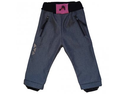 Dětské softshellové kalhoty kostka pudrová zimní