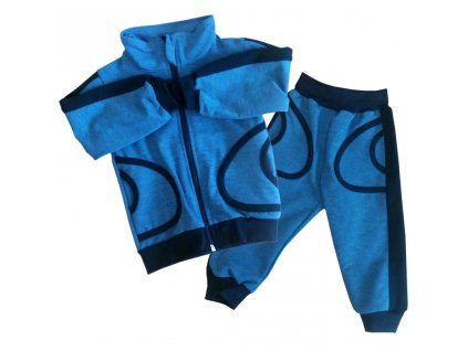 Chlapecká tepláková souprava se stojáčkem jeans s černým lemováním
