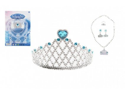 Sada krásy modrá korunka, náušnice, náhrdelník