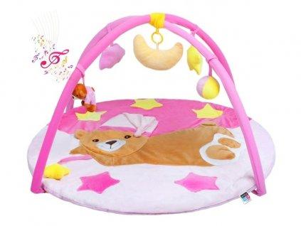 HRAČKY Hrací deka s melodií PlayTo spící medvídek růžová