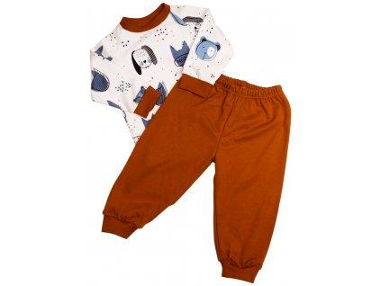 Dětské bavlněné pyžamo Patrik hnědá varianta