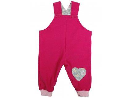 Dívčí růžové kalhoty s laclem a aplikací srdce a myšek