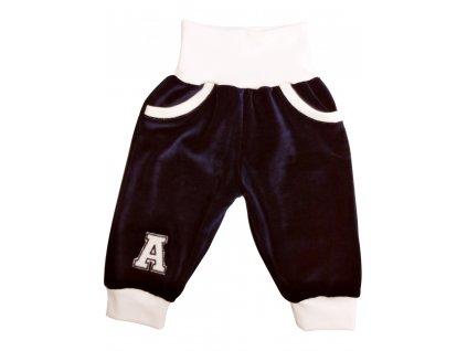 Dětské kalhoty velur granát s kapsami