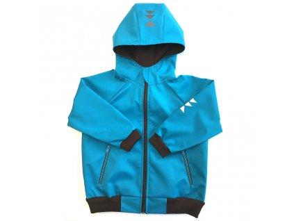 Dětská softshellová bunda s kapucí letní tyrkysová
