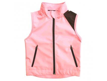 Dívčí softshellová vesta se stojáčkem letní růžová