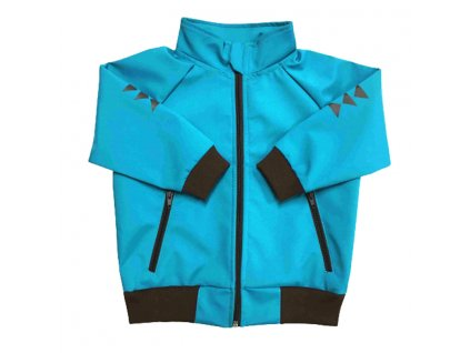 Dětská softshellová bunda se stojáčkem letní tyrkysová