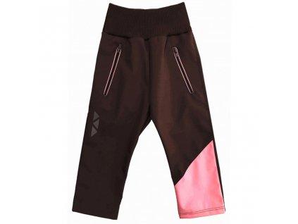Dívčí softshellové kalhoty letní hnědo-růžové