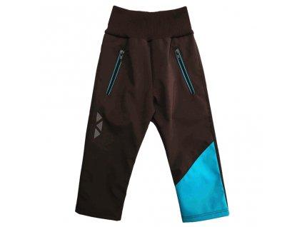 Dětské softshellové kalhoty letní hnědo-tyrkysové