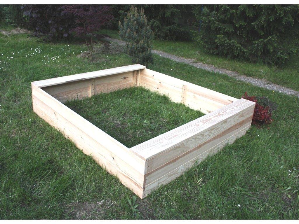 Dětské pískoviště dřevěné - obdélník 140x160x29 cm