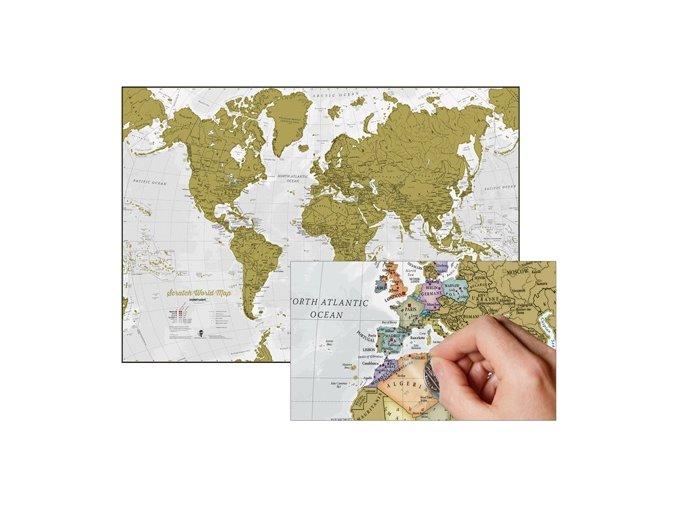 nástěnná mapa Svět scratch stírací 84x59 cm